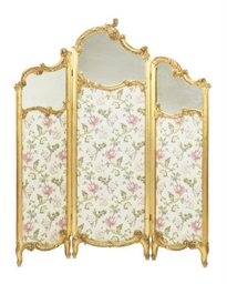 A FRENCH GILTWOOD THREE-PANEL
