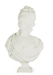 A BISCUIT PORCELAIN BUST OF MA