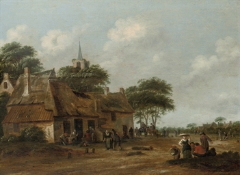 A village street with figures