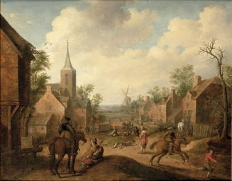 Soldiers plundering a village