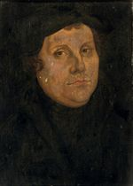 Portrait of Martin Luther, bust-length, in a black cloak