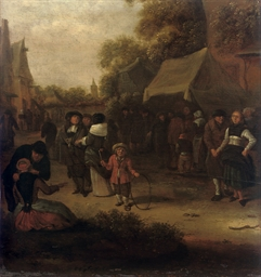 A village scene with numerous
