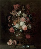 Roses, tulips, carnations, morning glory and various other flowers in a vase, on a stone ledge