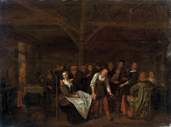 Peasants playing a game in a t
