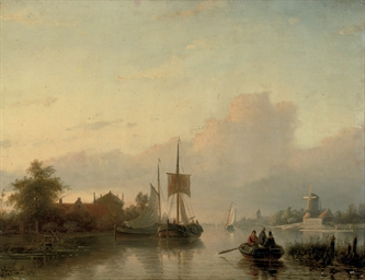 A summer landscape with sailin