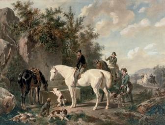 Taking a break: horses waterin