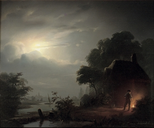 A moonlit landscape, with a fi