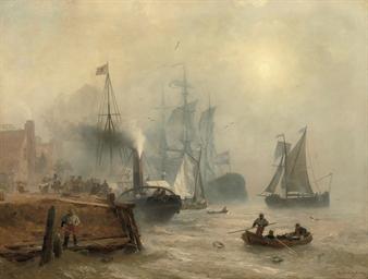 A moored steamer at a busy qua