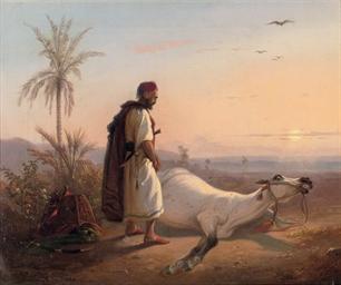 An Arabic horseman and his hor
