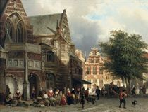 A busy market day in front of the Oude Kerk, Amsterdam