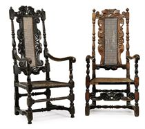 TWO WILLIAM AND MARY OPEN ARMCHAIRS