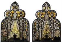 A PAIR OF VICTORIAN STAINED-GLASS WINDOW PANELS