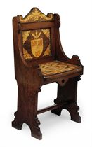 A SCOTTISH OAK AND PENWORK MARQUETRY HALL CHAIR