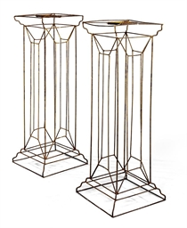 A PAIR OF WIRE-WORK PEDESTALS