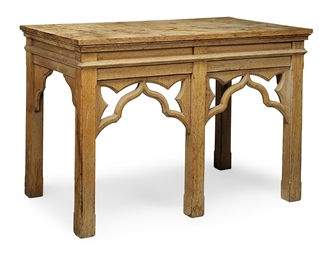 A GOTHIC REVIVAL OAK SIDE TABL