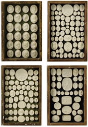 FOUR FRAMED DEAL TRAYS OF PLAS