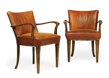 A PAIR OF ART DECO WALNUT AND
