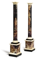 A PAIR OF BLUE JOHN COLUMNS