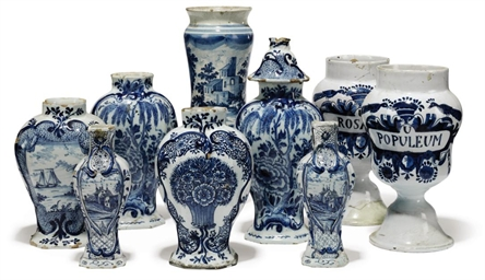 A GROUP OF DUTCH DELFT VASES A