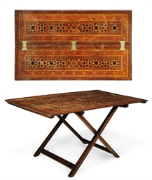 AN INDIAN TEAK AND PARQUETRY C