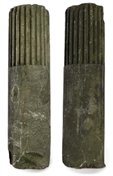 A PAIR OF STONE COLUMNS OF MON