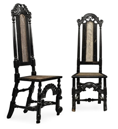TWO QUEEN ANNE EBONISED CARVED