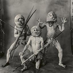 Three Asaro Mudmen, New Guinea