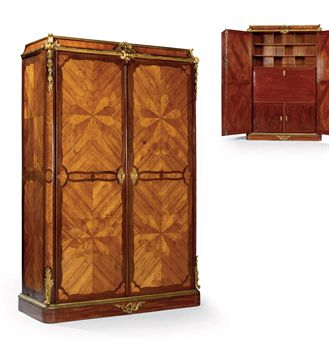 armoire formant secretaire d 39 epoque louis xv estampille de bernard van risenburgh et de. Black Bedroom Furniture Sets. Home Design Ideas