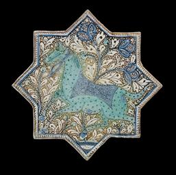 A KASHAN COBALT-BLUE, TURQUOIS