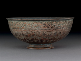 A SAFAVID TINNED COPPER BOWL (