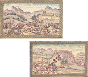 TWO MINIATURES OF BATTLE SCENE