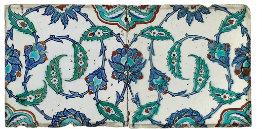 TWO IZNIK POTTERY TILES