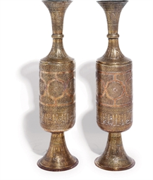 A PAIR OF LARGE SILVER-OVERLAI
