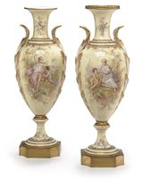 A PAIR OF SEVRES STYLE IVORY-GROUND VASES