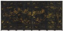 A CHINESE GILT-DECORATED BLACK LACQUER EIGHT-PANEL SCREEN