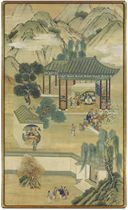 A PAIR OF CHINESE PAINTED WALLPAPER PANELS