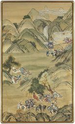 A PAIR OF CHINESE PAINTED WALL