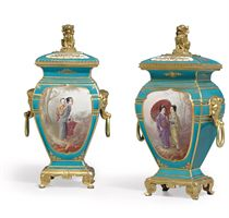 A PAIR OF ORMOLU-MOUNTED FRENCH TURQUOISE-GROUND VASES AND C