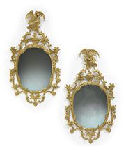 A PAIR OF ENGLISH GILTWOOD MIRRORS