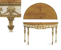 A GEORGE III SATINWOOD, MARQUETRY, CREAM-PAINTED AND PARCEL-