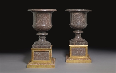 A PAIR OF SWEDISH PORPHYRY VAS