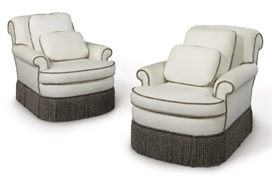 A PAIR OF CREAM-UPHOLSTERED AR