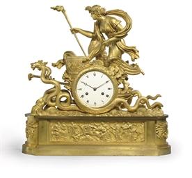 AN EMPIRE ORMOLU FIGURAL CLOCK