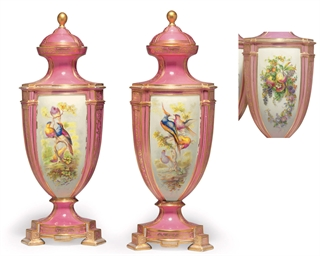 A PAIR OF COALPORT PINK-GROUND
