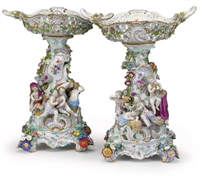 TWO MEISSEN RETICULATED CENTER