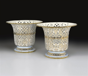 A PAIR OF SEVRES GOLD AND PALE