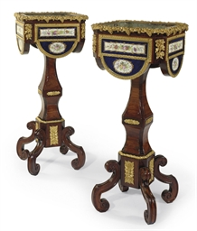 A PAIR OF ORMOLU AND SEVRES ST