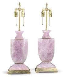 A PAIR OF ROSE QUARTZ AND GILT