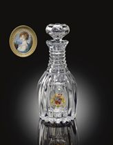 A RUSSIAN (IMPERIAL GLASS WORKS) CUT-GLASS DECANTER AND STOPPER FROM A BANQUET SERVICE