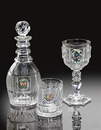 A CLICHY MONOGRAMMED CUT-GLASS
